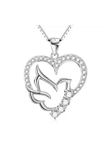 Enesstore Gümüş Zirkon Taşlı Kalbimin Kuşu Bayan Kolye Beyaz